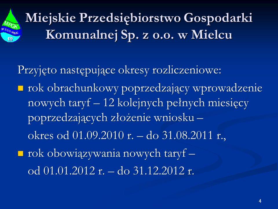 4 Miejskie Przedsiębiorstwo Gospodarki Komunalnej Sp. z o.o. w Mielcu Przyjęto następujące okresy rozliczeniowe: rok obrachunkowy poprzedzający wprowa
