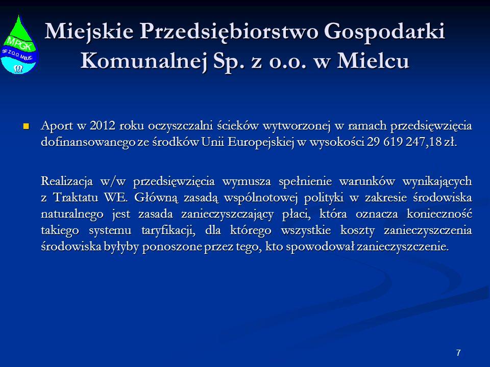 7 Miejskie Przedsiębiorstwo Gospodarki Komunalnej Sp. z o.o. w Mielcu Aport w 2012 roku oczyszczalni ścieków wytworzonej w ramach przedsięwzięcia dofi