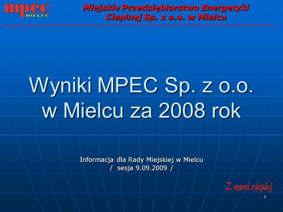 1 Wyniki MPEC Sp. z o.o. w Mielcu za 2008 rok Informacja dla Rady Miejskiej w Mielcu / sesja 9.09.2009 / Miejskie Przedsiębiorstwo Energetyki Cieplnej