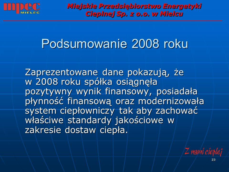 23 Podsumowanie 2008 roku Zaprezentowane dane pokazują, że w 2008 roku spółka osiągnęła pozytywny wynik finansowy, posiadała płynność finansową oraz m