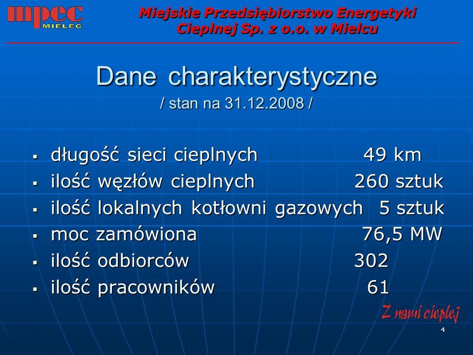 4 Dane charakterystyczne / stan na 31.12.2008 / Miejskie Przedsiębiorstwo Energetyki Cieplnej Sp. z o.o. w Mielcu długość sieci cieplnych 49 km długoś
