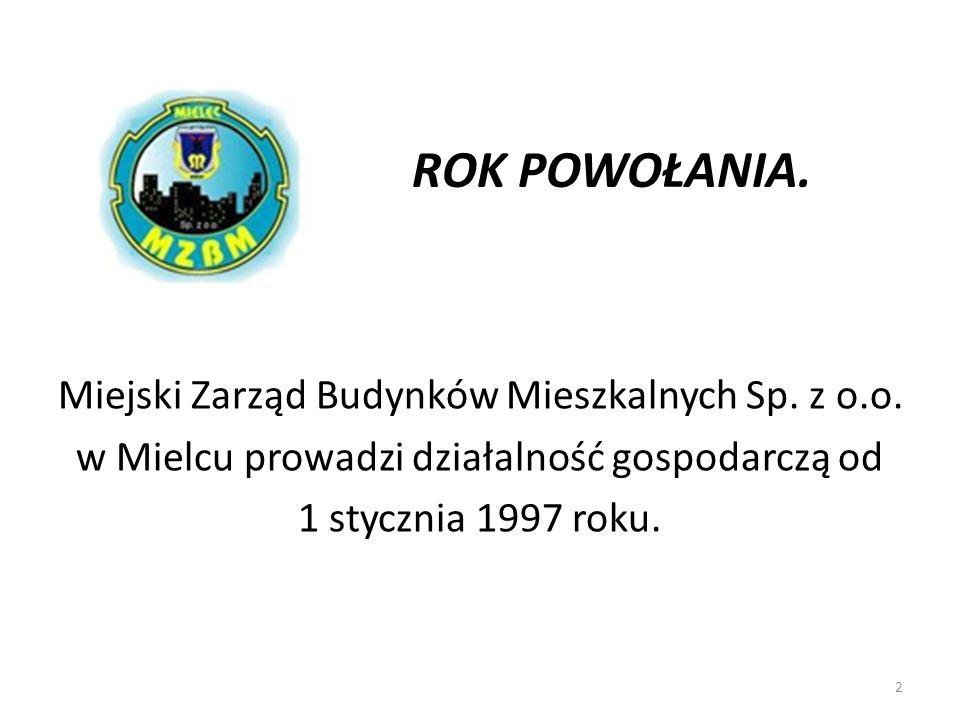 ROK POWOŁANIA. Miejski Zarząd Budynków Mieszkalnych Sp. z o.o. w Mielcu prowadzi działalność gospodarczą od 1 stycznia 1997 roku. 2
