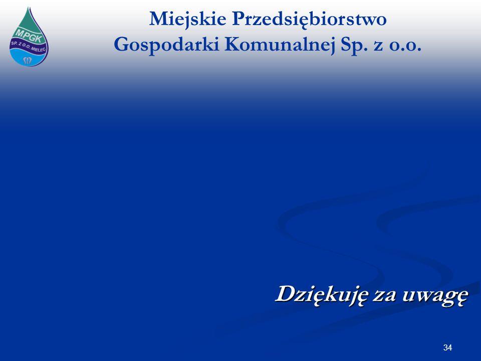 Miejskie Przedsiębiorstwo Gospodarki Komunalnej Sp. z o.o. Dziękuję za uwagę 34
