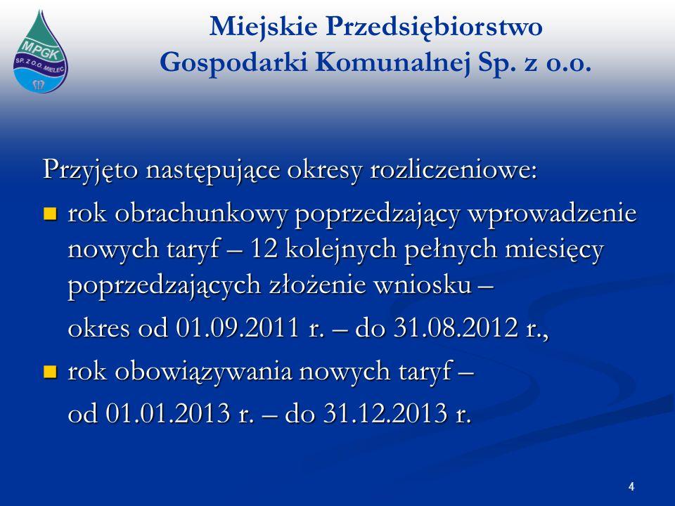 Miejskie Przedsiębiorstwo Gospodarki Komunalnej Sp. z o.o. 4 Przyjęto następujące okresy rozliczeniowe: rok obrachunkowy poprzedzający wprowadzenie no