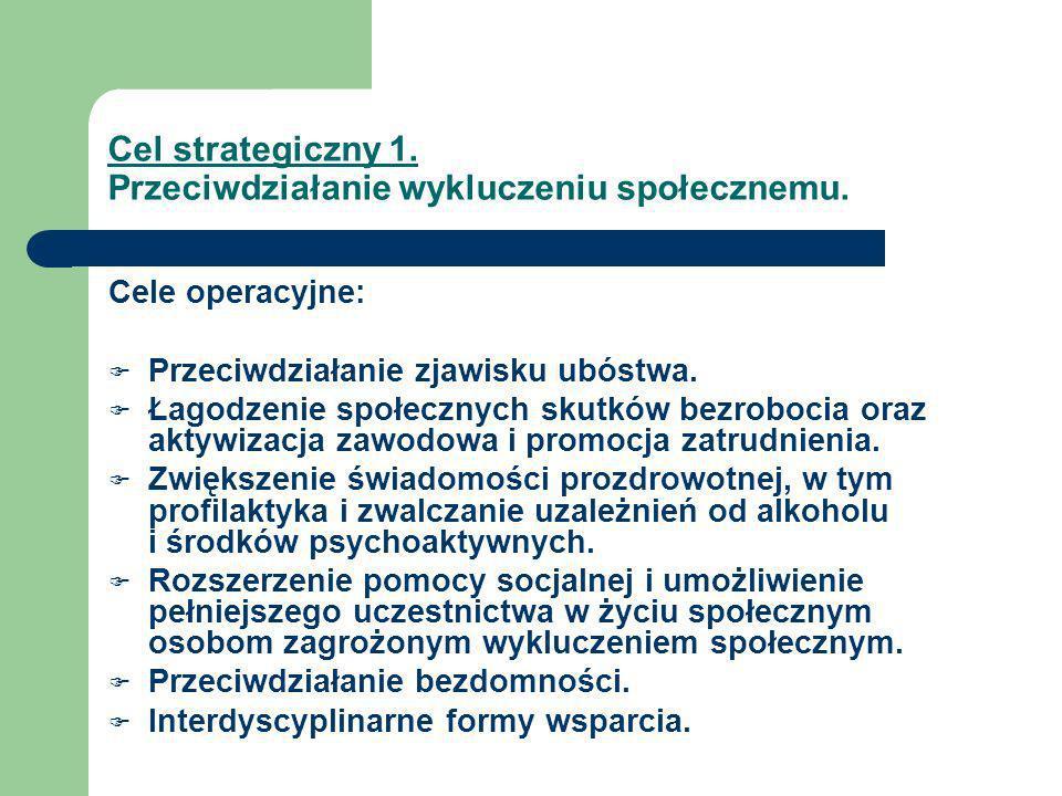 Cel strategiczny 1. Przeciwdziałanie wykluczeniu społecznemu. Cele operacyjne: Przeciwdziałanie zjawisku ubóstwa. Łagodzenie społecznych skutków bezro