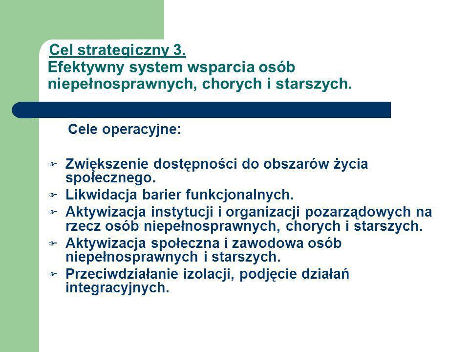Cel strategiczny 3. Efektywny system wsparcia osób niepełnosprawnych, chorych i starszych. Cele operacyjne: Zwiększenie dostępności do obszarów życia