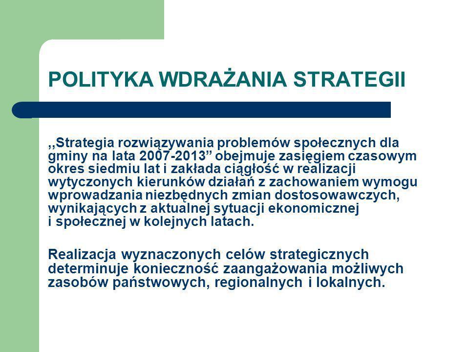 POLITYKA WDRAŻANIA STRATEGII,,Strategia rozwiązywania problemów społecznych dla gminy na lata 2007-2013 obejmuje zasięgiem czasowym okres siedmiu lat