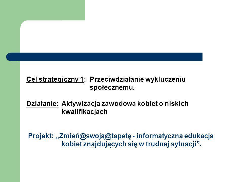 Cel strategiczny 1: Przeciwdziałanie wykluczeniu społecznemu. Działanie: Aktywizacja zawodowa kobiet o niskich kwalifikacjach Projekt:,,Zmień@swoją@ta