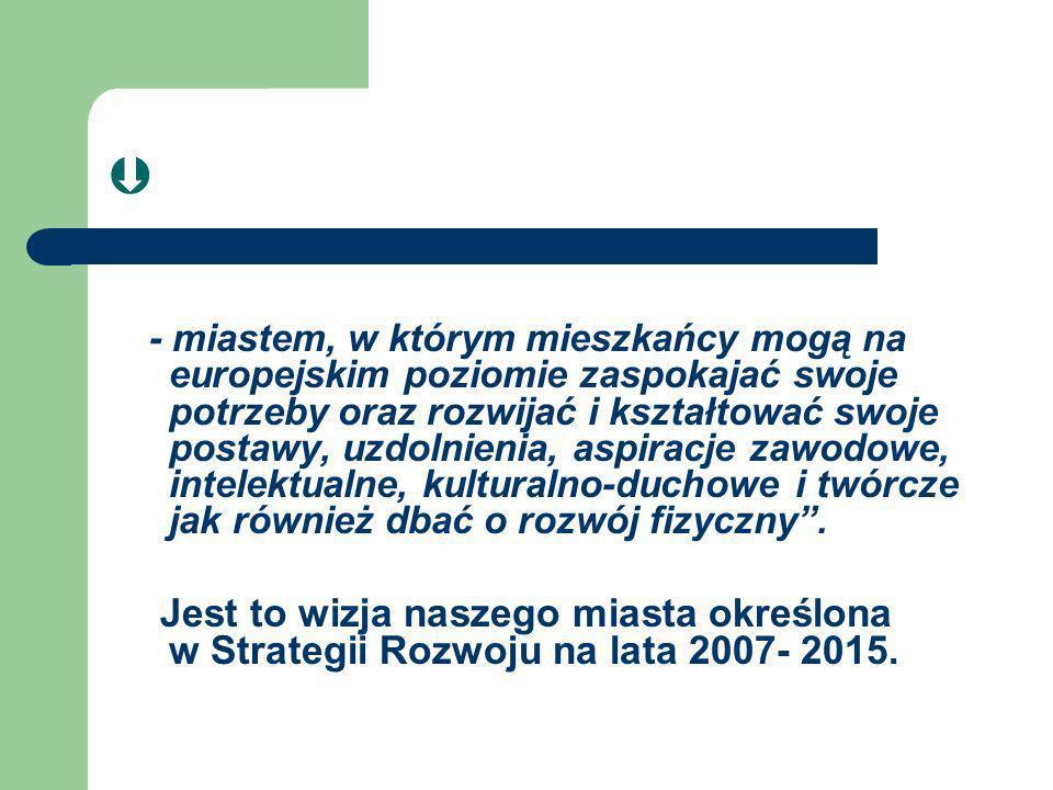 - miastem, w którym mieszkańcy mogą na europejskim poziomie zaspokajać swoje potrzeby oraz rozwijać i kształtować swoje postawy, uzdolnienia, aspiracj