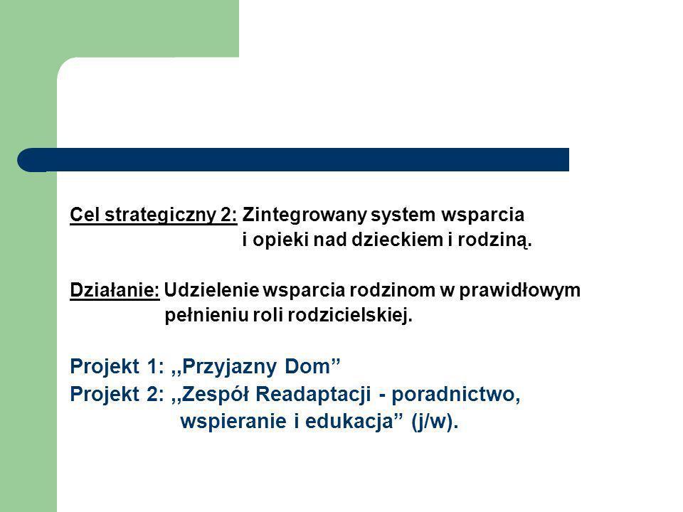 Cel strategiczny 2: Zintegrowany system wsparcia i opieki nad dzieckiem i rodziną. Działanie: Udzielenie wsparcia rodzinom w prawidłowym pełnieniu rol