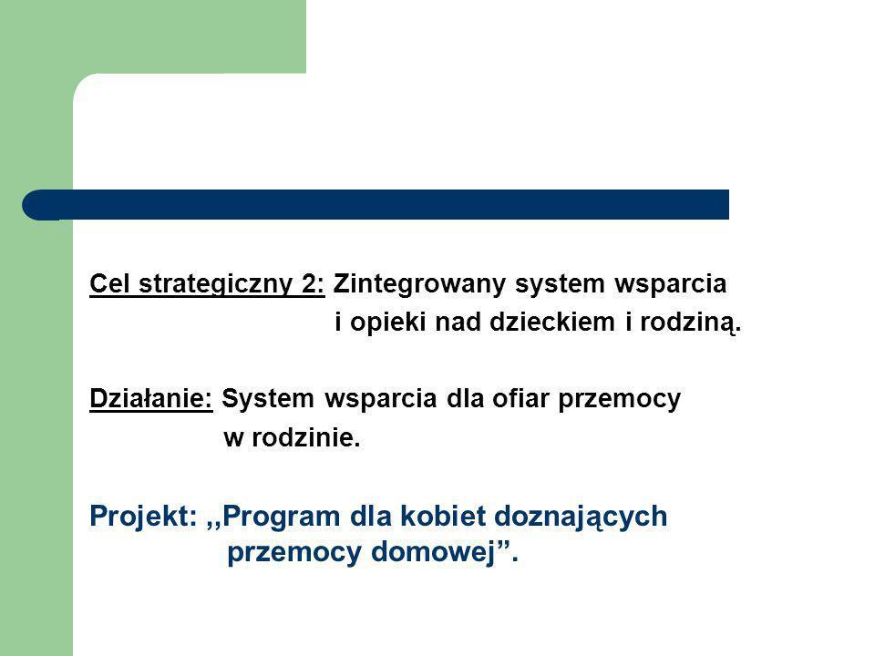 Cel strategiczny 2: Zintegrowany system wsparcia i opieki nad dzieckiem i rodziną. Działanie: System wsparcia dla ofiar przemocy w rodzinie. Projekt:,