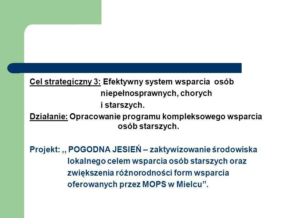 Cel strategiczny 3: Efektywny system wsparcia osób niepełnosprawnych, chorych i starszych. Działanie: Opracowanie programu kompleksowego wsparcia osób