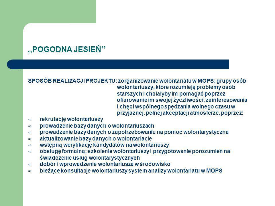 ,,POGODNA JESIEŃ UCZESTNICY PROJEKTU: 1.Koordynator Centrum Wolontariatu w Mielcu.