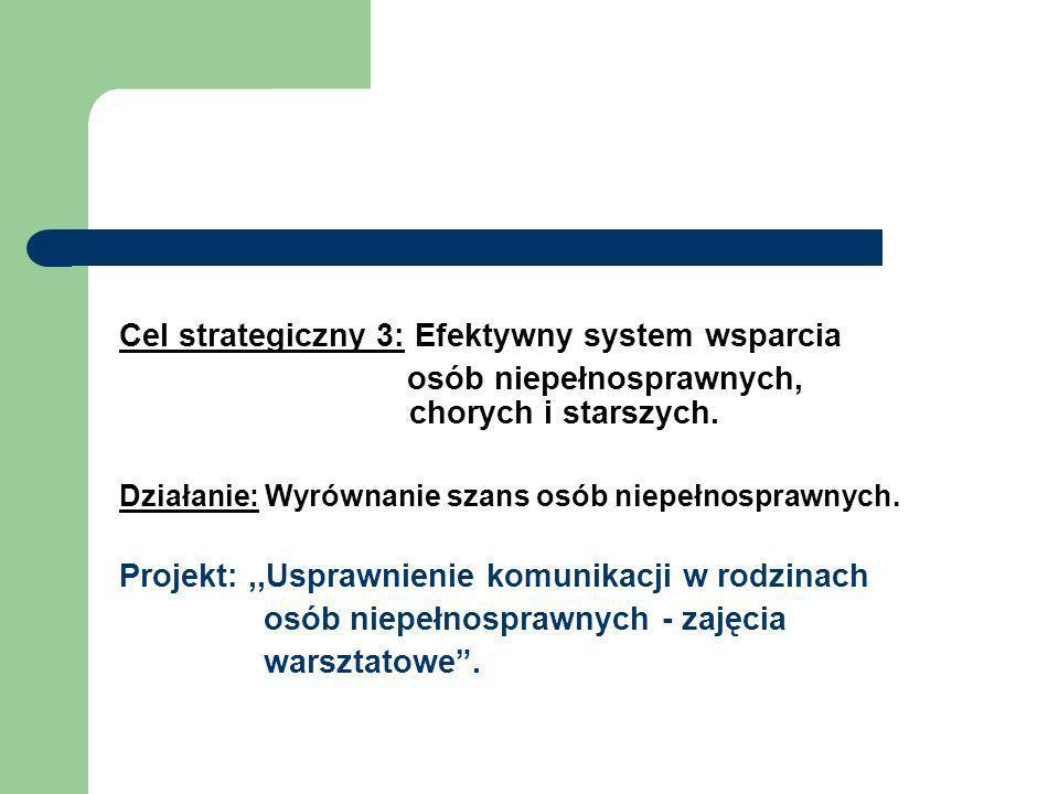 Cel strategiczny 3: Efektywny system wsparcia osób niepełnosprawnych, chorych i starszych. Działanie: Wyrównanie szans osób niepełnosprawnych. Projekt