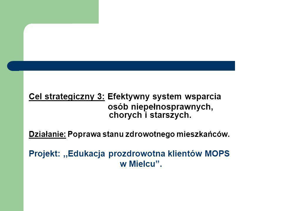 Cel strategiczny 3: Efektywny system wsparcia osób niepełnosprawnych, chorych i starszych. Działanie: Poprawa stanu zdrowotnego mieszkańców. Projekt:,