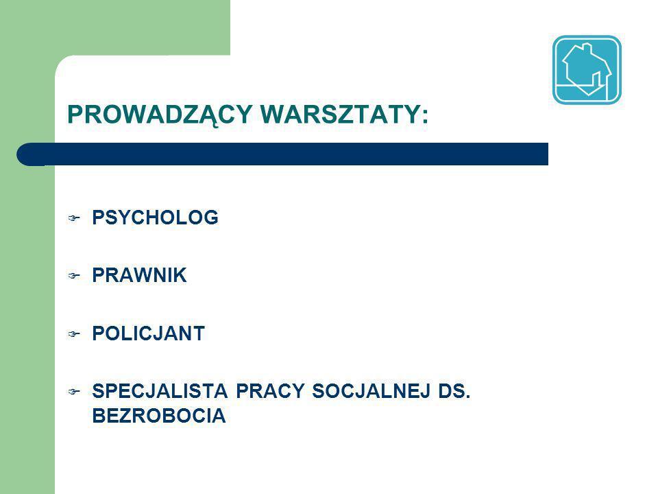 PROWADZĄCY WARSZTATY: PSYCHOLOG PRAWNIK POLICJANT SPECJALISTA PRACY SOCJALNEJ DS. BEZROBOCIA