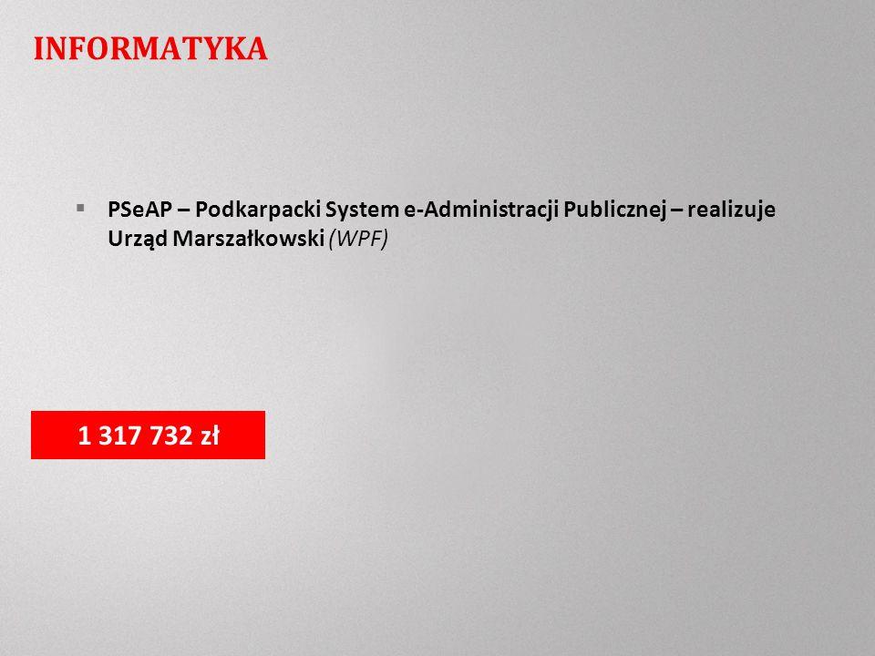 INFORMATYKA PSeAP – Podkarpacki System e-Administracji Publicznej – realizuje Urząd Marszałkowski (WPF) 1 317 732 zł