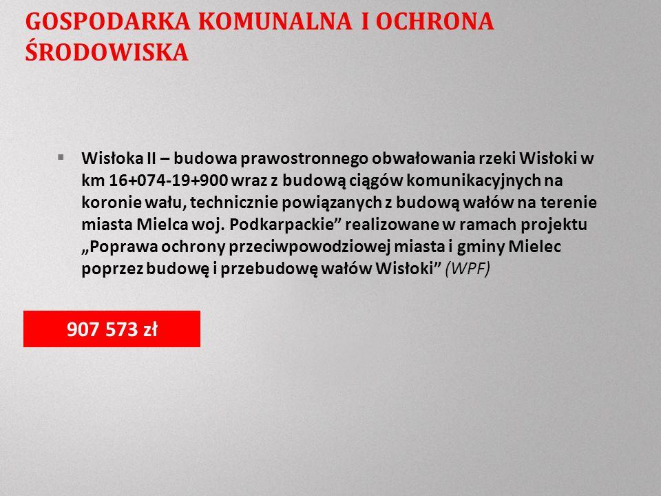 GOSPODARKA KOMUNALNA I OCHRONA ŚRODOWISKA Wisłoka II – budowa prawostronnego obwałowania rzeki Wisłoki w km 16+074-19+900 wraz z budową ciągów komunikacyjnych na koronie wału, technicznie powiązanych z budową wałów na terenie miasta Mielca woj.