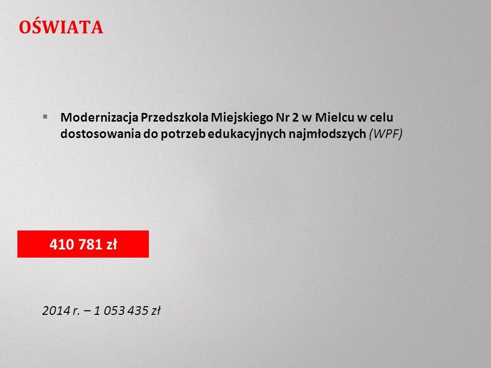 OŚWIATA Modernizacja Przedszkola Miejskiego Nr 2 w Mielcu w celu dostosowania do potrzeb edukacyjnych najmłodszych (WPF) 2014 r.