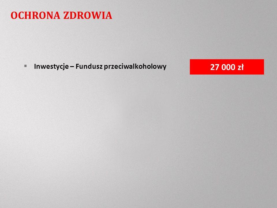 OCHRONA ZDROWIA Inwestycje – Fundusz przeciwalkoholowy 27 000 zł