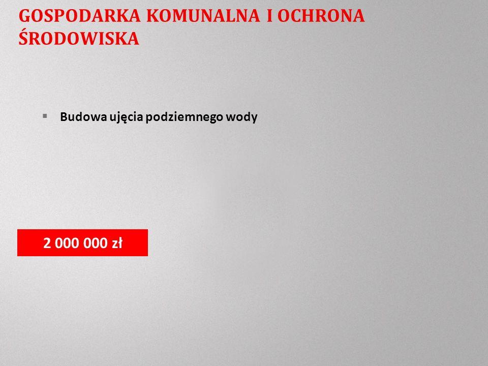 GOSPODARKA KOMUNALNA I OCHRONA ŚRODOWISKA Budowa ujęcia podziemnego wody 2 000 000 zł