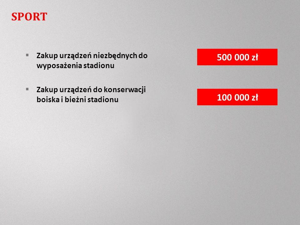 Zakup urządzeń niezbędnych do wyposażenia stadionu Zakup urządzeń do konserwacji boiska i bieżni stadionu 100 000 zł 500 000 zł SPORT
