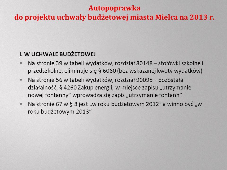 Autopoprawka do projektu uchwały budżetowej miasta Mielca na 2013 r.
