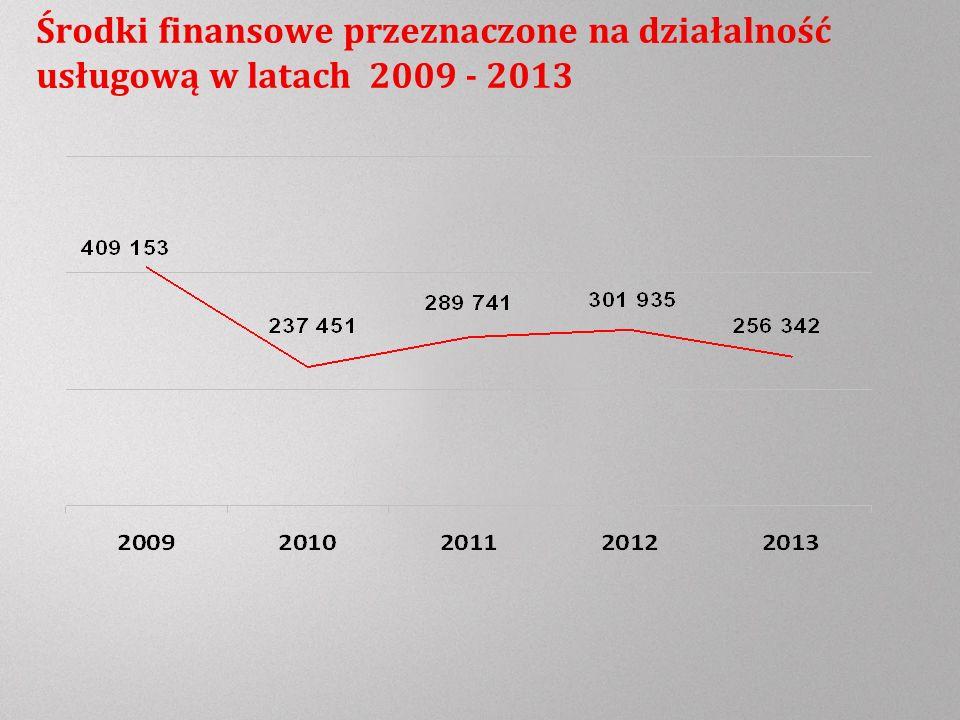 Środki finansowe przeznaczone na działalność usługową w latach 2009 - 2013