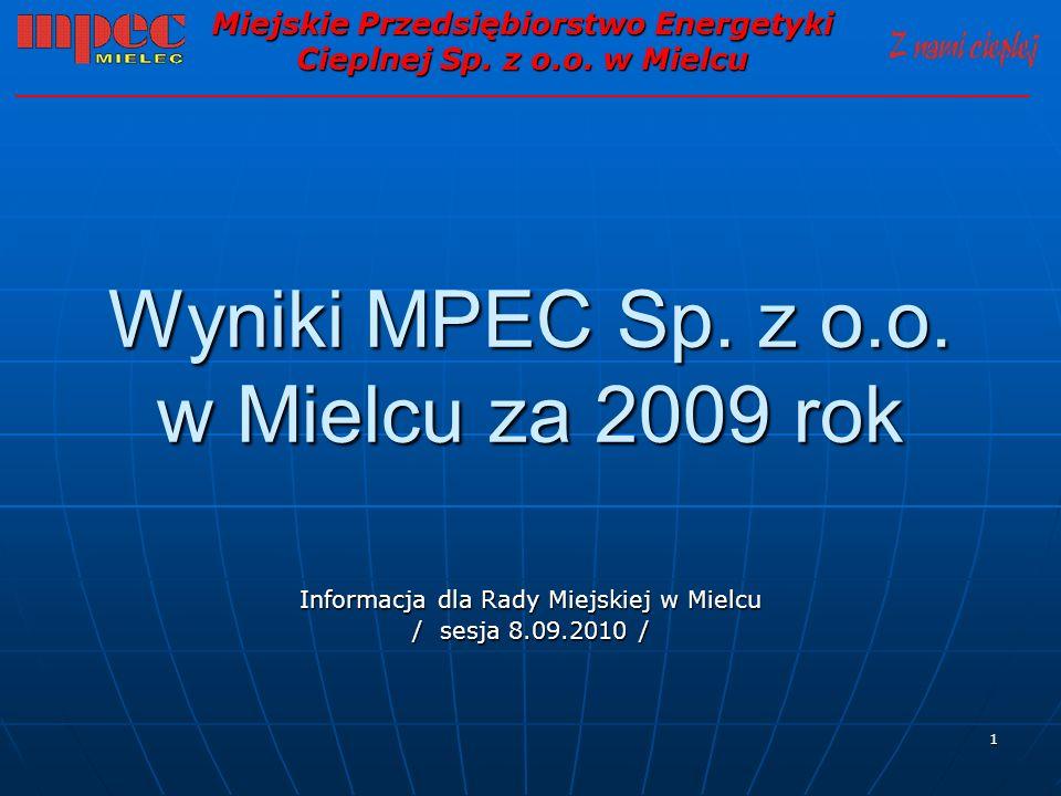 1 Wyniki MPEC Sp. z o.o. w Mielcu za 2009 rok Informacja dla Rady Miejskiej w Mielcu / sesja 8.09.2010 / Miejskie Przedsiębiorstwo Energetyki Cieplnej