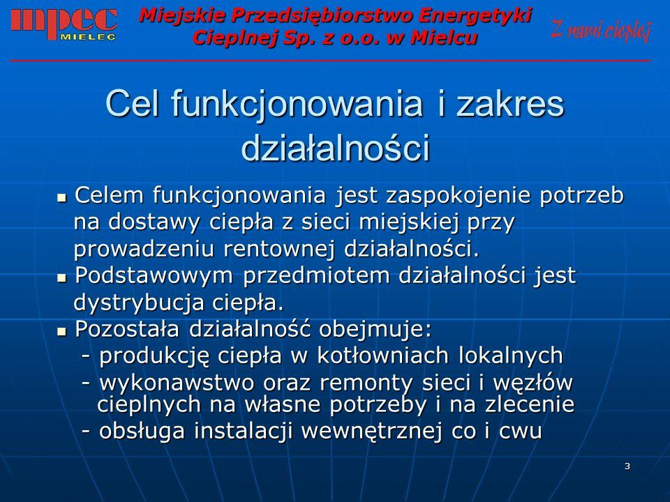4 Dane charakterystyczne / stan na 31.12.2009 / Miejskie Przedsiębiorstwo Energetyki Cieplnej Sp.