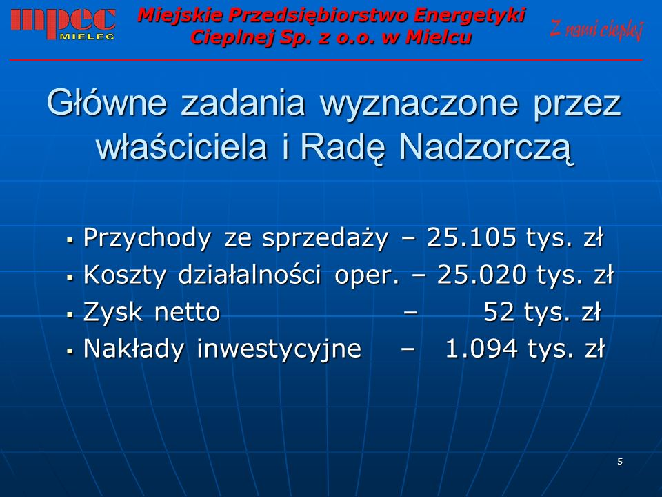 16 Podstawowe dane finansowe cd.Miejskie Przedsiębiorstwo Energetyki Cieplnej Sp.