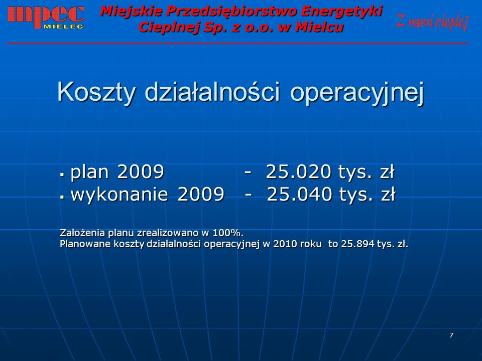 7 Koszty działalności operacyjnej plan 2009 - 25.020 tys. zł plan 2009 - 25.020 tys. zł wykonanie 2009 - 25.040 tys. zł wykonanie 2009 - 25.040 tys. z