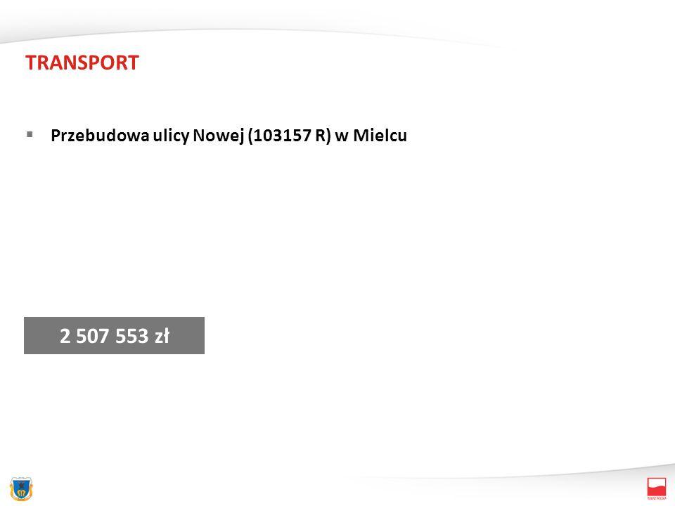 TRANSPORT Przebudowa ulicy Nowej (103157 R) w Mielcu 2 507 553 zł