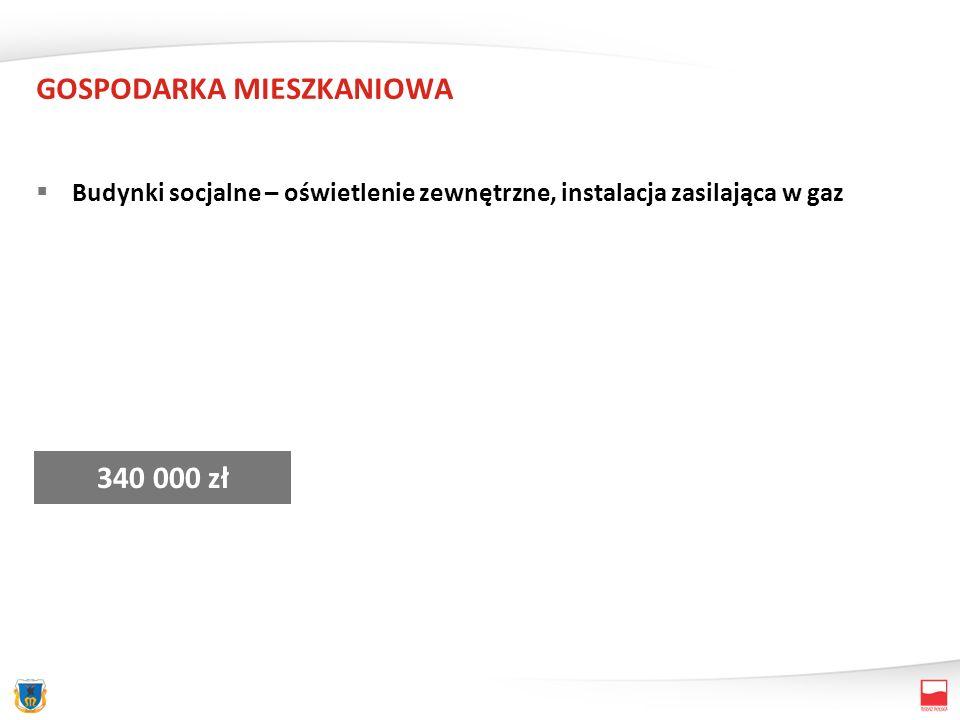 GOSPODARKA MIESZKANIOWA Budynki socjalne – oświetlenie zewnętrzne, instalacja zasilająca w gaz 340 000 zł