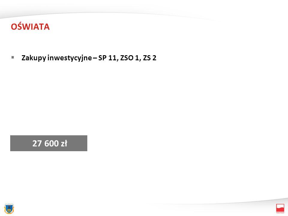 OŚWIATA Zakupy inwestycyjne – SP 11, ZSO 1, ZS 2 27 600 zł