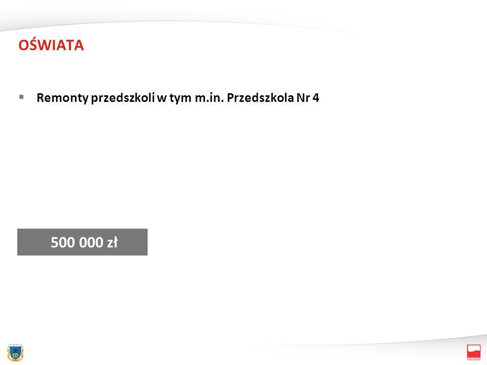 OŚWIATA Remonty przedszkoli w tym m.in. Przedszkola Nr 4 500 000 zł