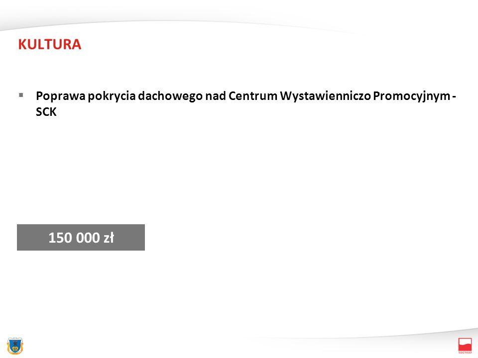 KULTURA Poprawa pokrycia dachowego nad Centrum Wystawienniczo Promocyjnym - SCK 150 000 zł