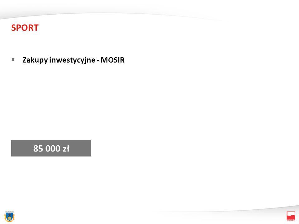 SPORT Zakupy inwestycyjne - MOSIR 85 000 zł