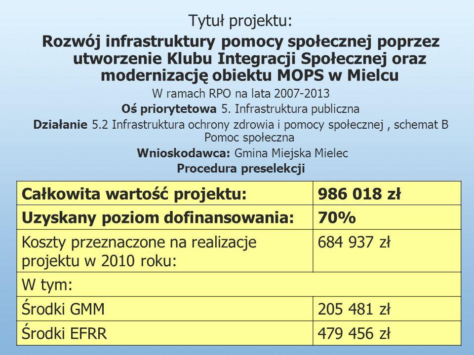 Tytuł projektu: Rozwój infrastruktury pomocy społecznej poprzez utworzenie Klubu Integracji Społecznej oraz modernizację obiektu MOPS w Mielcu W ramach RPO na lata 2007-2013 Oś priorytetowa 5.