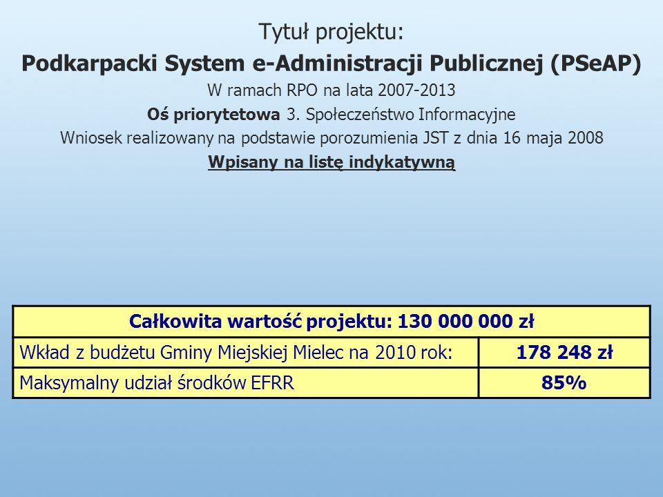 Tytuł projektu: Podkarpacki System e-Administracji Publicznej (PSeAP) W ramach RPO na lata 2007-2013 Oś priorytetowa 3.