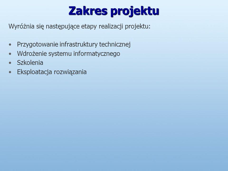 Zakres projektu Wyróżnia się następujące etapy realizacji projektu: Przygotowanie infrastruktury technicznej Wdrożenie systemu informatycznego Szkolenia Eksploatacja rozwiązania