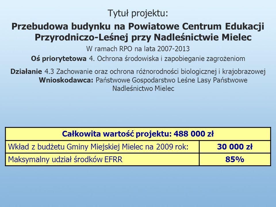 Tytuł projektu: Przebudowa budynku na Powiatowe Centrum Edukacji Przyrodniczo-Leśnej przy Nadleśnictwie Mielec W ramach RPO na lata 2007-2013 Oś priorytetowa 4.