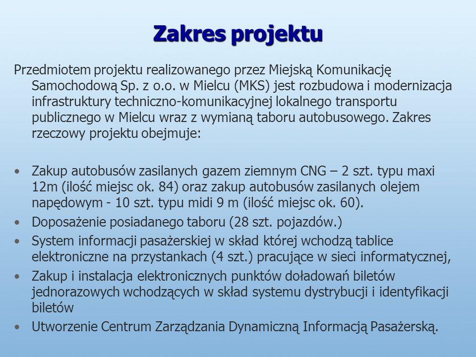 Zakres projektu Przedmiotem projektu realizowanego przez Miejską Komunikację Samochodową Sp.