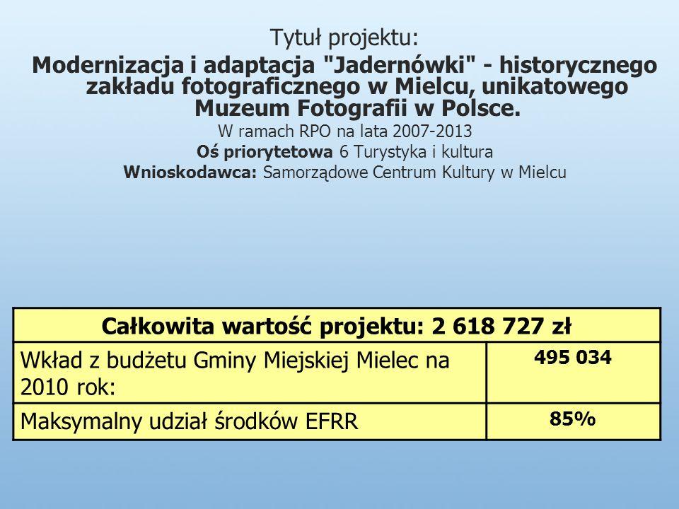 Tytuł projektu: Modernizacja i adaptacja Jadernówki - historycznego zakładu fotograficznego w Mielcu, unikatowego Muzeum Fotografii w Polsce.
