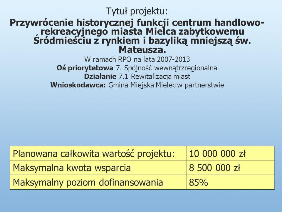 Tytuł projektu: Przywrócenie historycznej funkcji centrum handlowo- rekreacyjnego miasta Mielca zabytkowemu Śródmieściu z rynkiem i bazyliką mniejszą św.