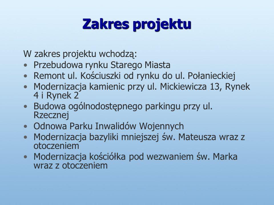Zakres projektu W zakres projektu wchodzą: Przebudowa rynku Starego Miasta Remont ul.