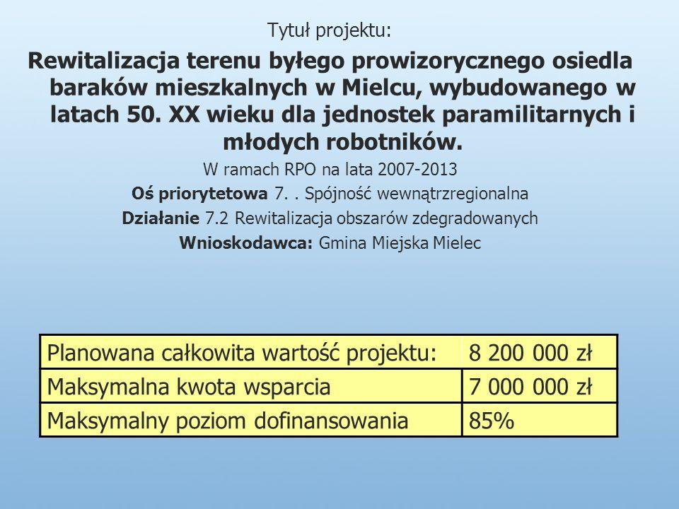 Tytuł projektu: Rewitalizacja terenu byłego prowizorycznego osiedla baraków mieszkalnych w Mielcu, wybudowanego w latach 50.