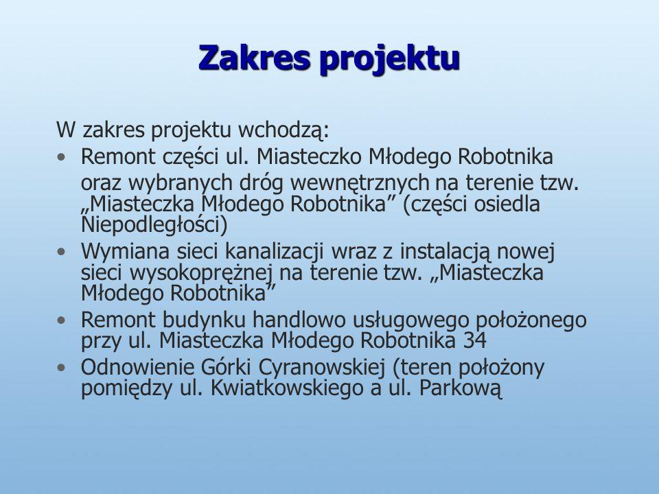 Zakres projektu W zakres projektu wchodzą: Remont części ul.