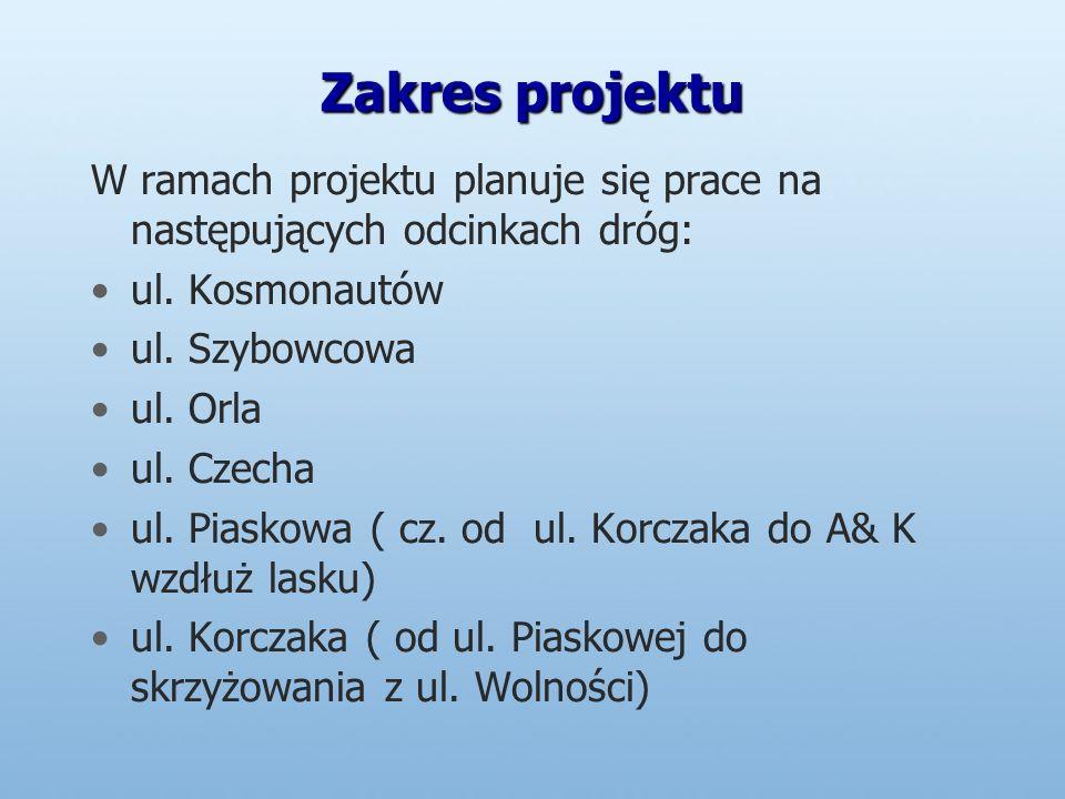 Zakres projektu W ramach projektu planuje się prace na następujących odcinkach dróg: ul.