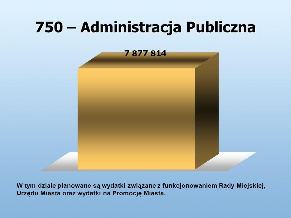 750 – Administracja Publiczna W tym dziale planowane są wydatki związane z funkcjonowaniem Rady Miejskiej, Urzędu Miasta oraz wydatki na Promocję Miasta.